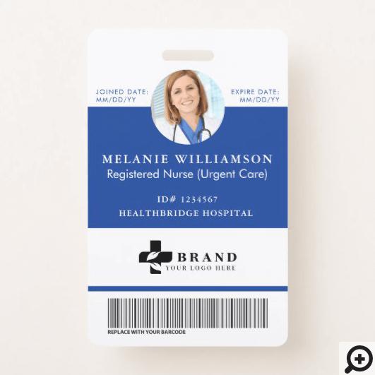 Blue Medical Employee Circle Photo ID & Logo Badge