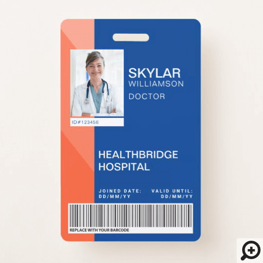 Blue & Orange Modern Design Medical Photo ID/Logo Badge