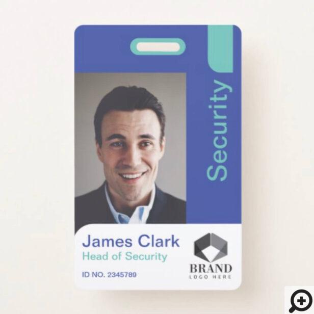 Blue & Teal Modern & Minimal Security Photo ID Badge