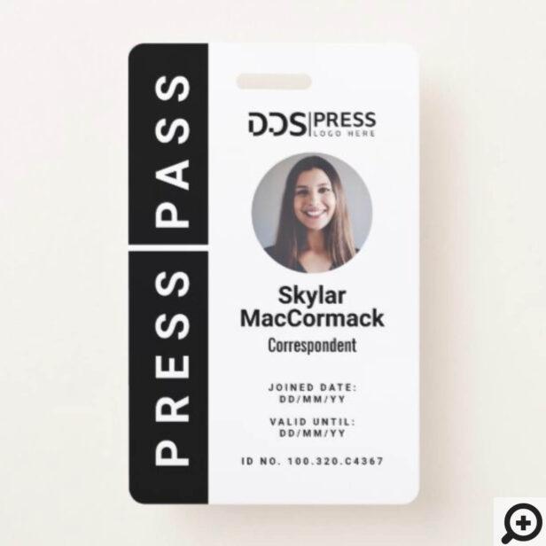Bold Modern Black Circle Photo Press Pass & Logo Badge