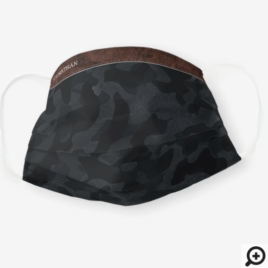Brown Leather & Dark Grey Camouflage Pattern Cloth Face Mask