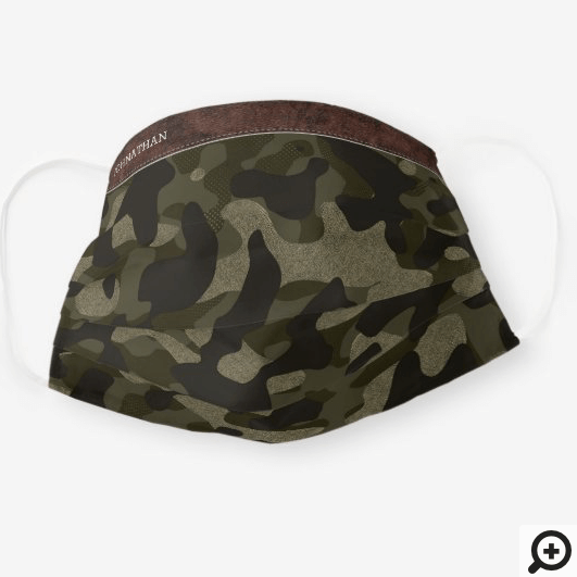 Brown Leather & Army Green Camouflage Pattern Cloth Face Mask