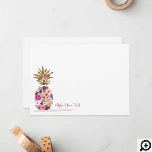 Chic Floral Botanical Watercolor Golden Pineapple Note Card