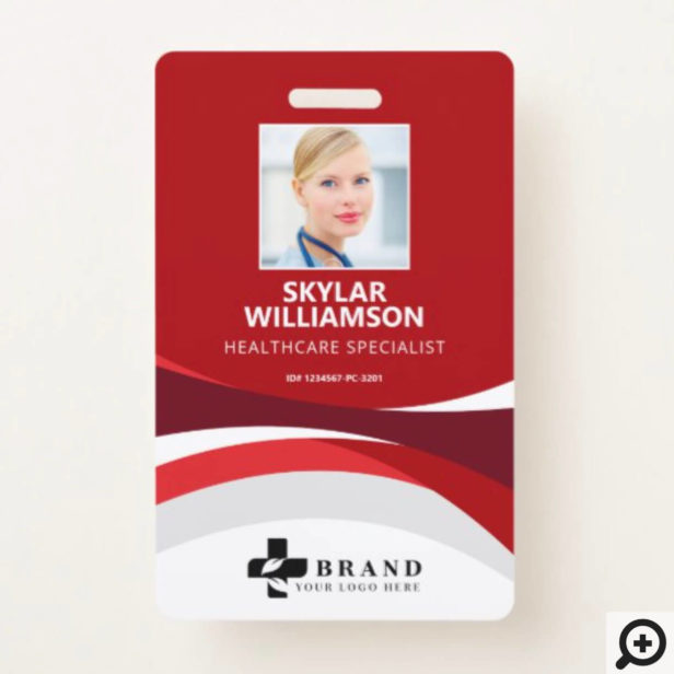 Colorful Red Flowing Design Medical ID & Logo Badge