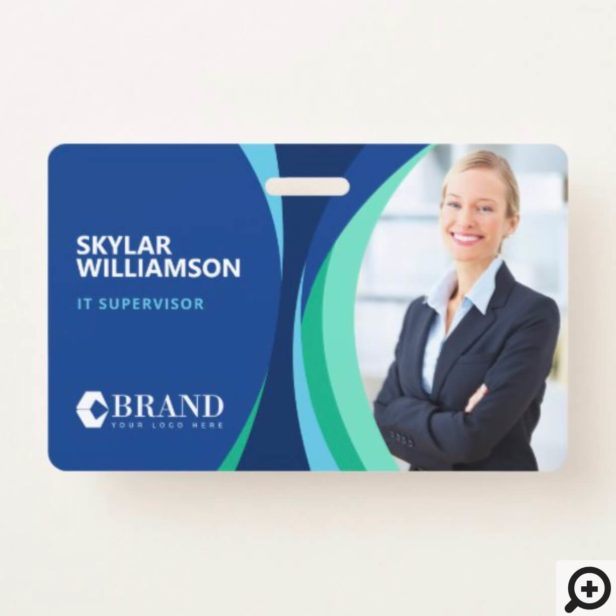 Company ID & Logo Colorful Blue Flowing Design Badge