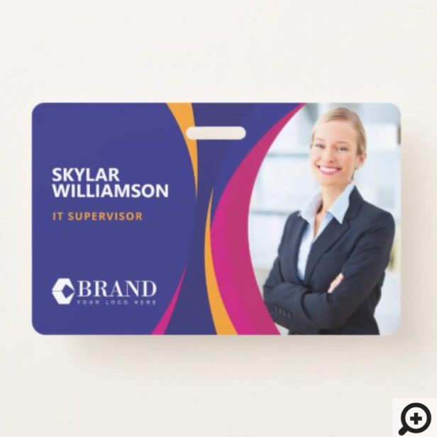 Company ID & Logo Colorful Purple Flowing Design Badge