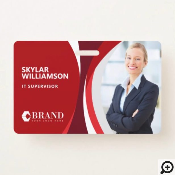 Company ID & Logo Colorful Red Flowing Design Badge