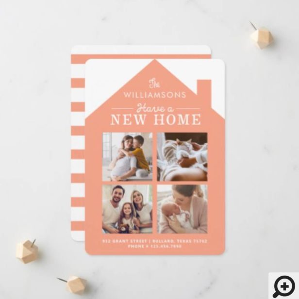 Coral Home New Family Address Photo Collage Announcement