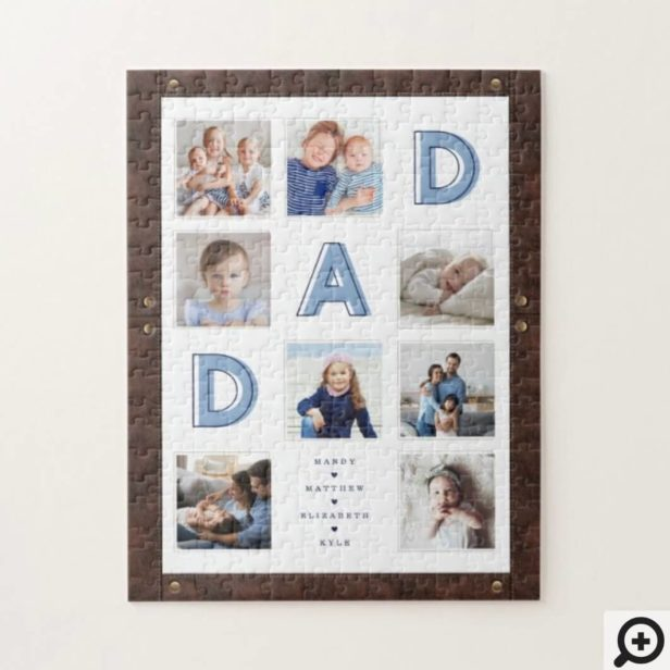 DAD Blue Letters Father's Day Photos Leather Frame Jigsaw Puzzle