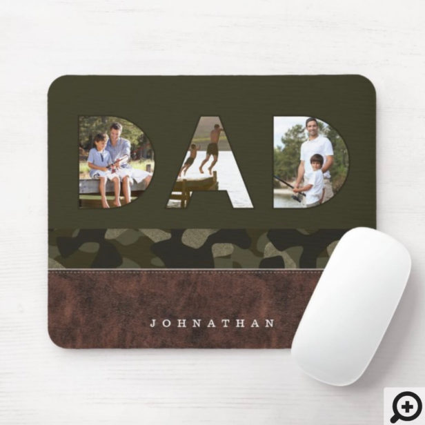 DAD Photo Frame Green Camouflage Pattern & Leather Mouse Pad
