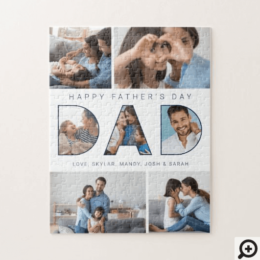 Dad Happy Father's Day Photo Collage Jigsaw Puzzle