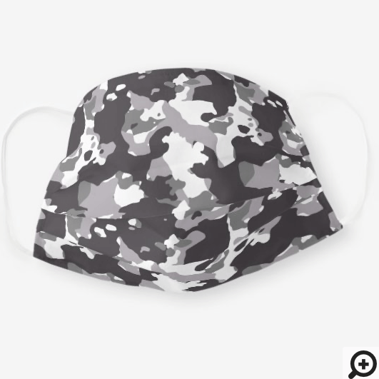 Dark Grey & White Camo Camouflage Pattern Cloth Face Mask