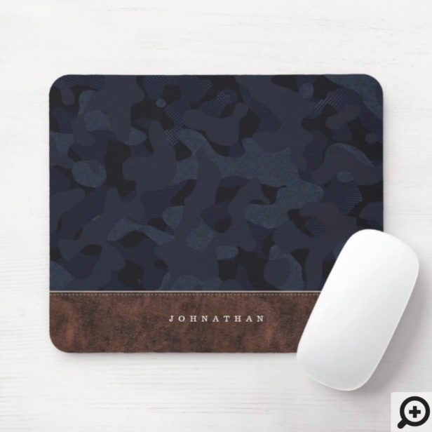 Dark Navy Blue Camouflage Pattern & Leather Mouse Pad