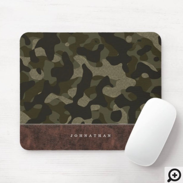 Dark Olive Green Camouflage Pattern & Leather Mouse Pad