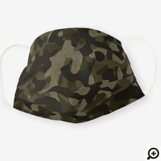 Dark Olive Green Stylish Camouflage Pattern Cloth Face Mask