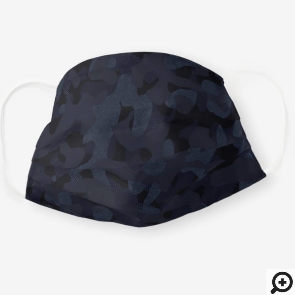 Dark Textured Navy Blue Stylish Camouflage Patten Cloth Face Mask