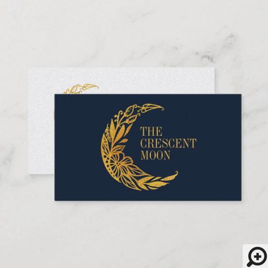 Elegant Gold Floral Garden Crescent Moon Business Card