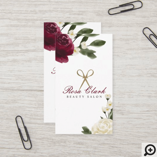 Elegant Gold Scissor & Red Watercolor Floral Logo Business Card