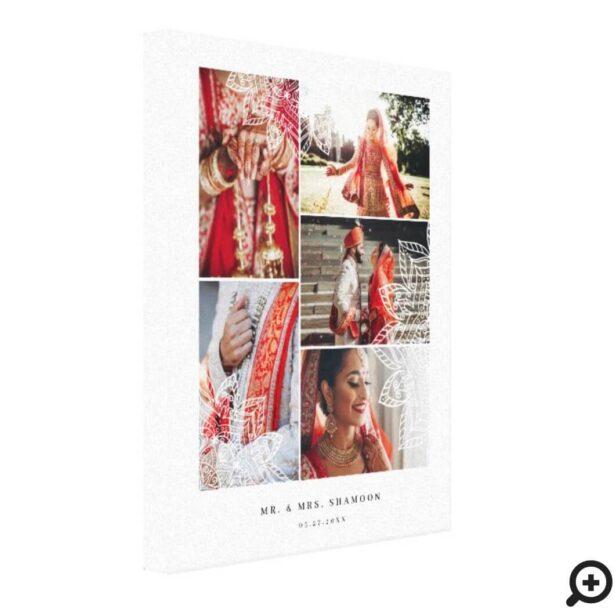 Elegant Mandala Multiple Wedding Photo Collage Canvas Print