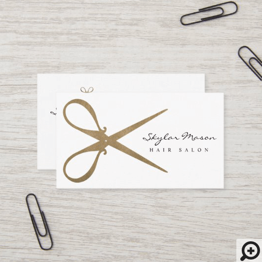 Elegant & Vintage Gold Scissor Logo Hair Salon White Business Card