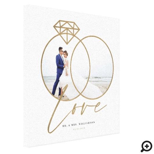 Elegant Wedding Love Gold Diamond Rings Photo Canvas Print