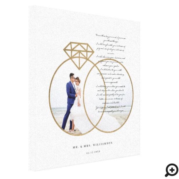 Elegant Wedding Vows Gold Diamond Rings Photo Canvas Print