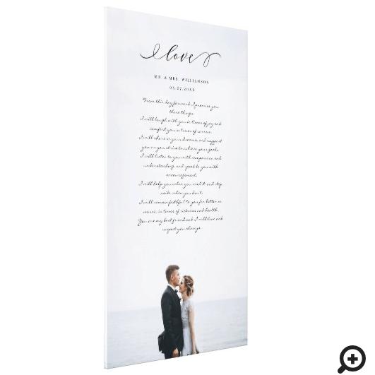 Elegant Wedding Vows Love Script Minimal Photo Canvas Print