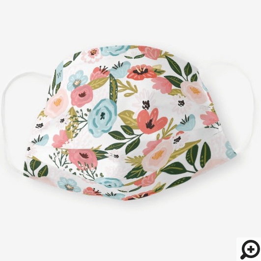 Girly Pink Botanical & Greenery Floral Pattern Cloth Face Mask