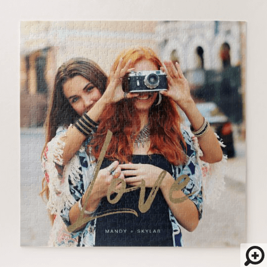 Gold Love Brush Script Overlay Couple Photo Memory Jigsaw Puzzle1