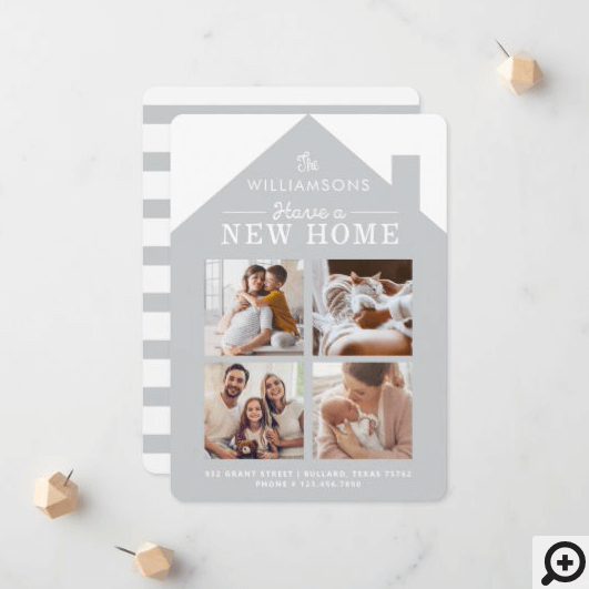 Grey Home New Family Address Photo Collage Announcement