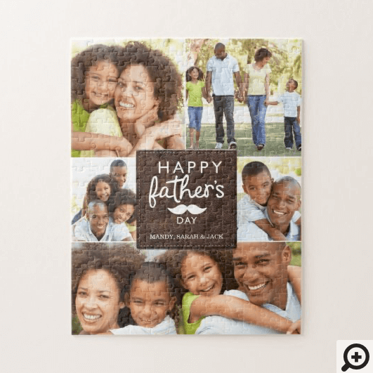 Happy Father's Day Moustache Photo Collage Jigsaw Puzzle