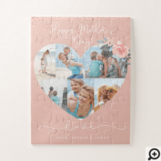 Happy Mother's Day Heart Floral Photo Collage Pink Jigsaw Puzzle