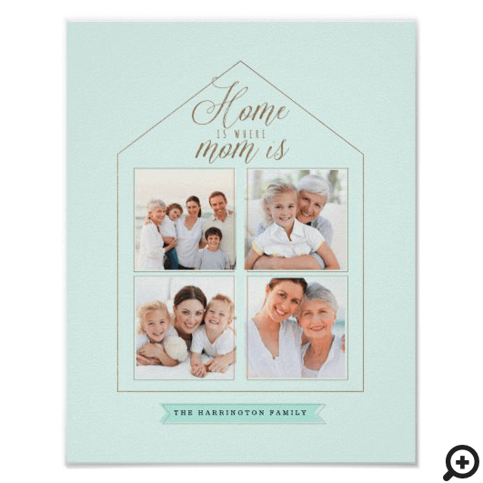 Home is Where Mom Is Family Photo Collage Mint Poster