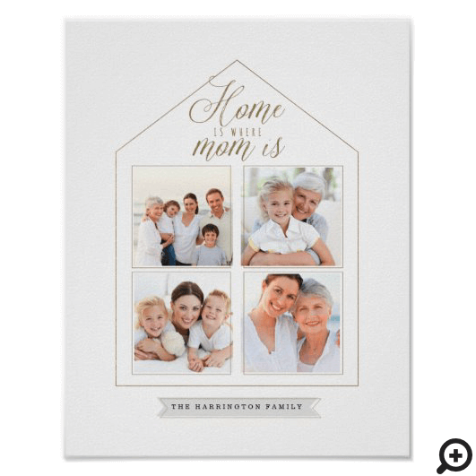 Home is Where Mom Is Family Photo Collage White Poster