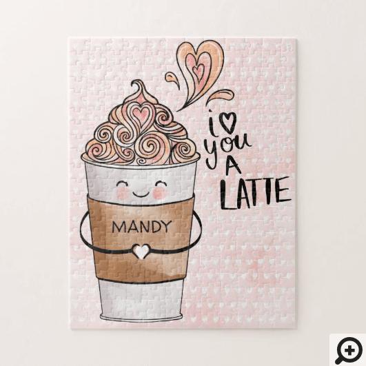 I Love You A Latte Cute Kawaii Coffee Cup & Hearts Jigsaw Puzzle