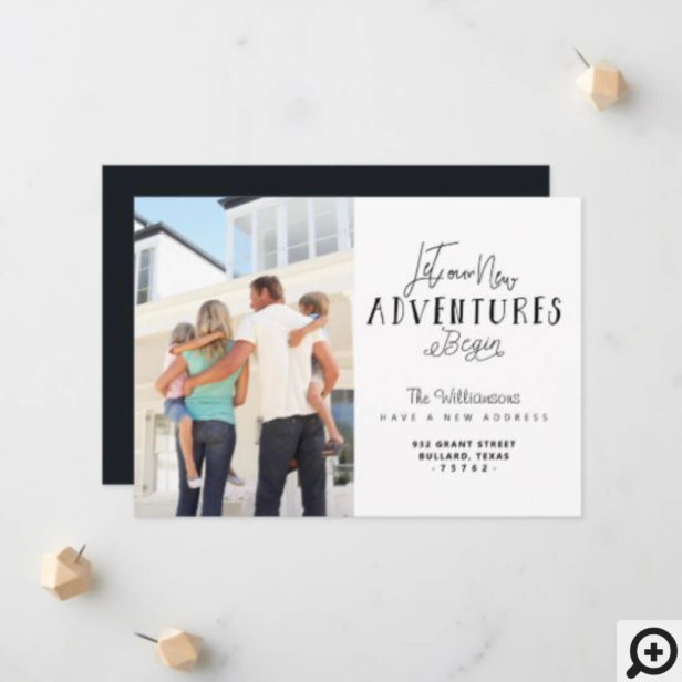 Let Our New Adventures Begin We're Moving Photo Announcement