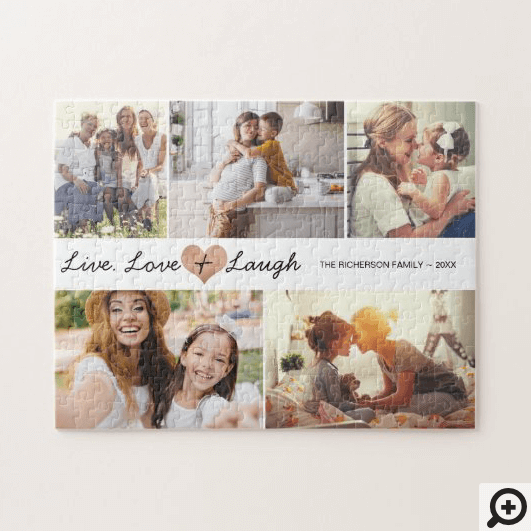 Live Love & Laugh Modern Family Photo Collage Jigsaw Puzzle