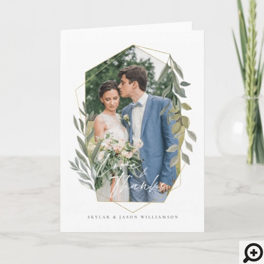 Love & Thanks Foliage & Gold Terrarium Photo Frame Card
