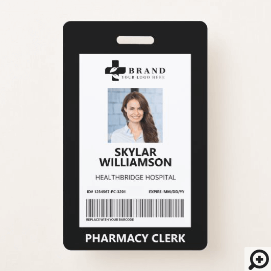 Minimal Black Border Frame Medical Photo ID & Logo Badge