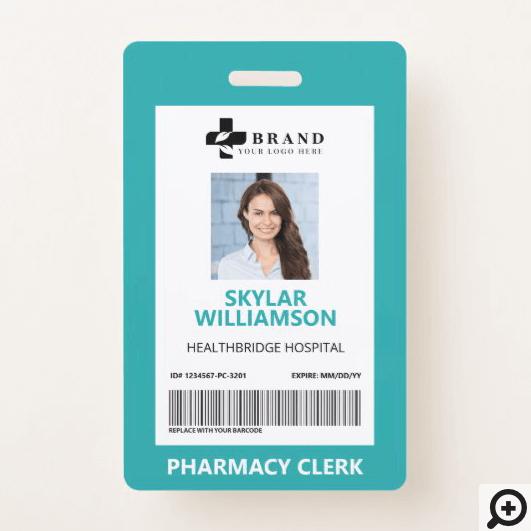 Minimal Blue Border Frame Medical Photo ID & Logo Badge