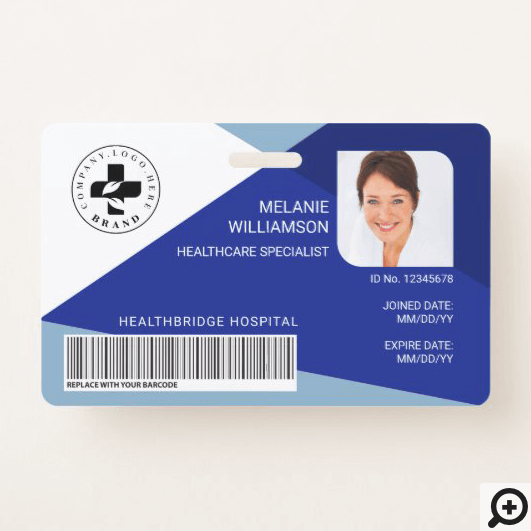 Modern Blue Geometric Design Medical Photo ID/Logo Badge
