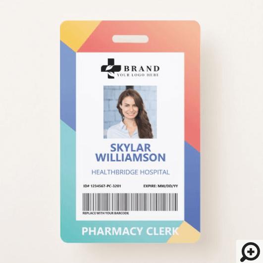 Modern Geometric Design Medical Photo ID & Logo Badge