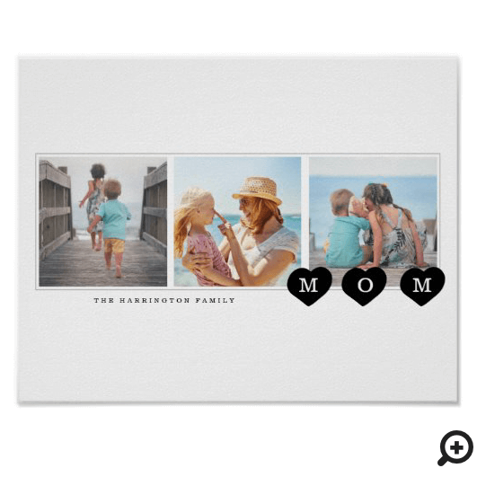 Modern Minimal Family Photo Collage Heart Mom Poster