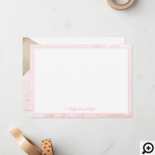 Modern Trendy Blush Pink Marble & Faux Gold Accent Note Card