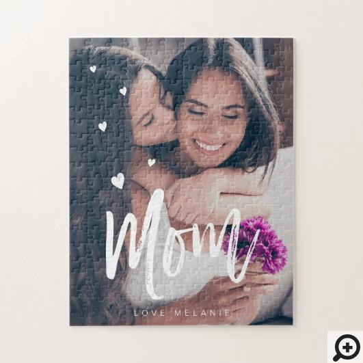 Mom Script & Hearts Overlay Modern Photo Family Jigsaw Puzzle