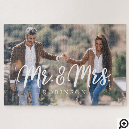 Mr & Mrs Newlywed Custom Full Photo Jigsaw Puzzle