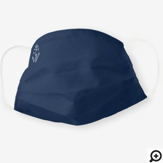 Navy Blue Ship Nautical Anchor & Rope Monogram Cloth Face Mask
