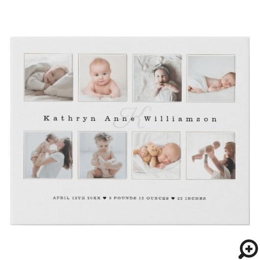 Newborn Baby Birth Stats Photo Collage & Monogram Faux Canvas Print