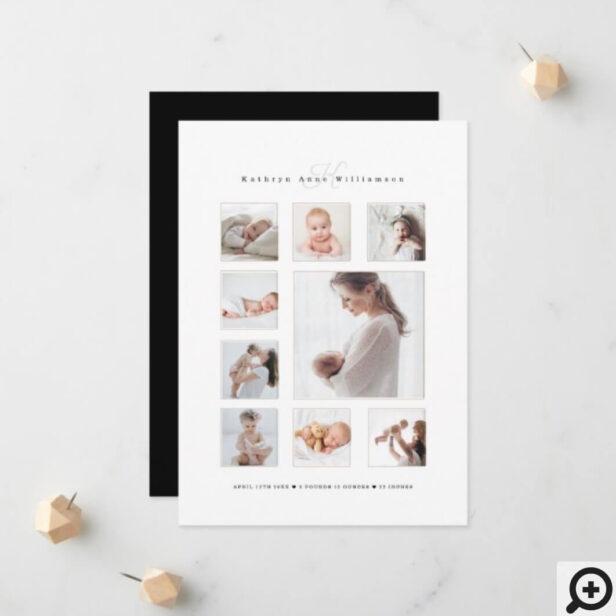 Newborn Baby Photo Collage & Monogram Birth Announcement