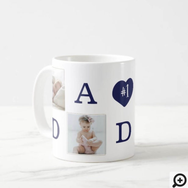 Number 1 Dad Daddy Photo Collage Gold Frame Coffee Mug